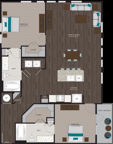 1,310 sq. ft. B7 floor plan