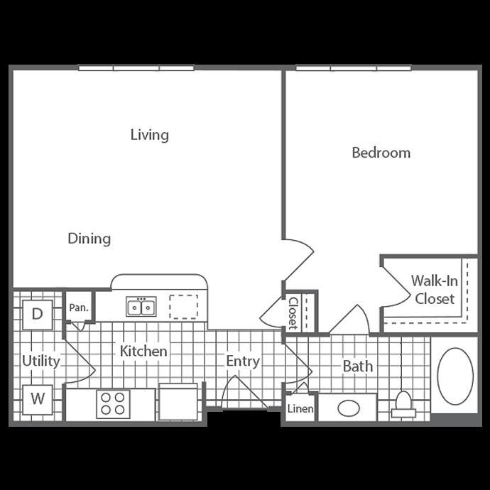 727 sq. ft. Lankin floor plan
