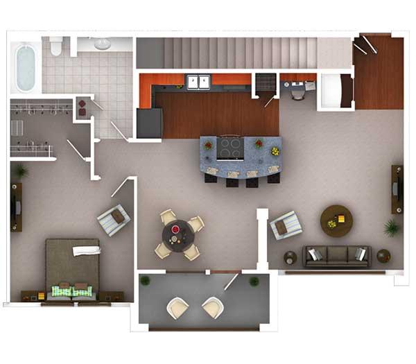 830 sq. ft. Ag6.1 floor plan