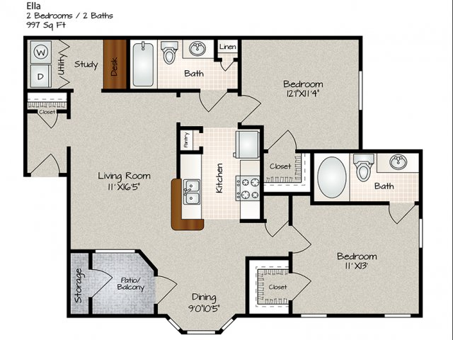 999 sq. ft. Ella floor plan