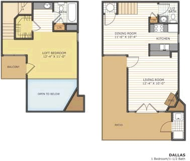 800 sq. ft. DALLAS floor plan