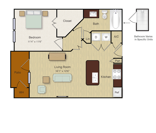 646 sq. ft. A6 floor plan