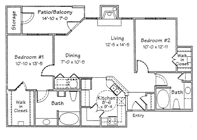 1,075 sq. ft. B2F floor plan