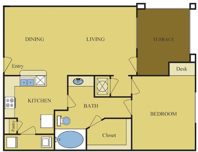796 sq. ft. Red Oak floor plan
