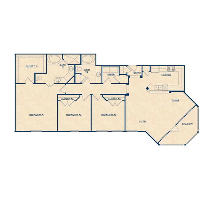 1,643 sq. ft. C1 floor plan