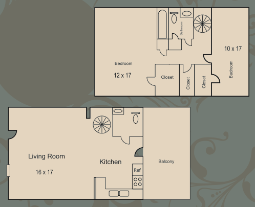 1,250 sq. ft. B3 floor plan