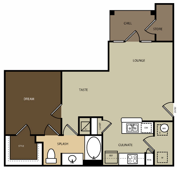 724 sq. ft. to 741 sq. ft. A1 floor plan