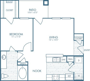 664 sq. ft. A1 floor plan