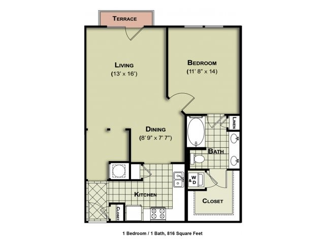 816 sq. ft. A5 floor plan