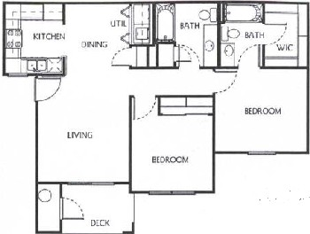 900 sq. ft. B1/60 floor plan