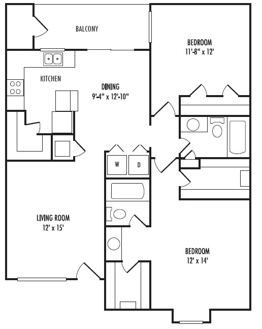 1,070 sq. ft. C floor plan
