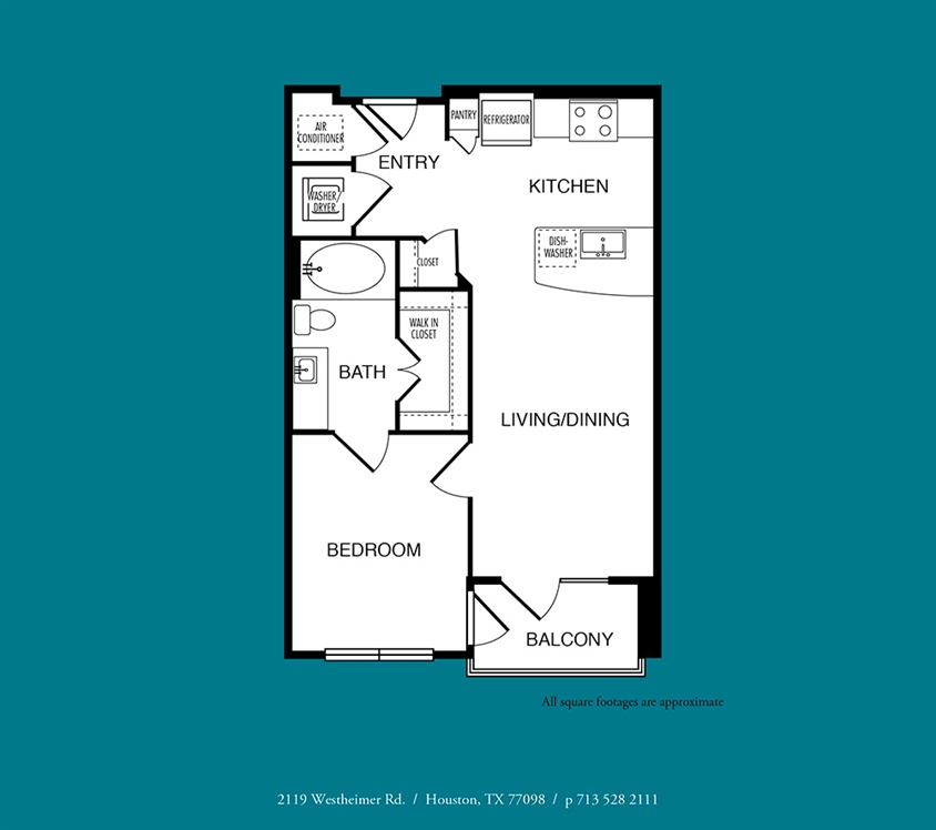 624 sq. ft. to 629 sq. ft. A1 floor plan