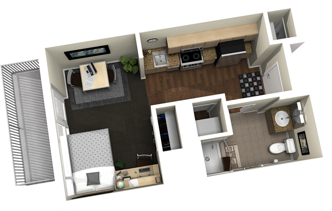 386 sq. ft. floor plan