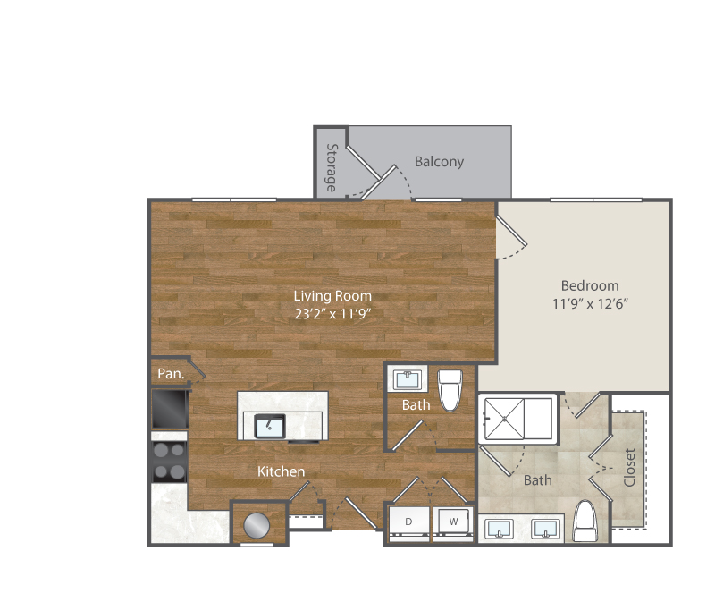 863 sq. ft. A6 floor plan