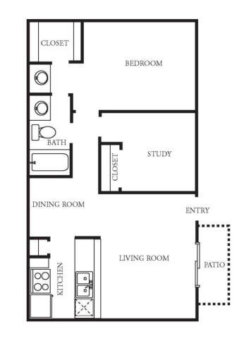 830 sq. ft. A3 floor plan
