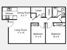 801 sq. ft. B1 floor plan
