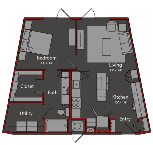 787 sq. ft. A3 floor plan