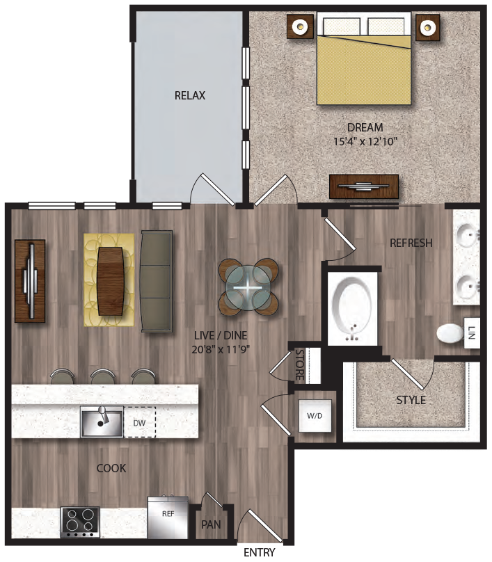 865 sq. ft. A8.1 floor plan