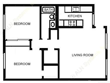 925 sq. ft. B1C floor plan