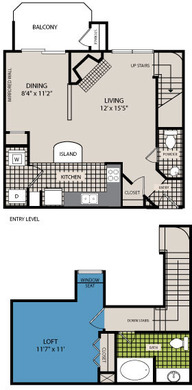 837 sq. ft. A8 floor plan