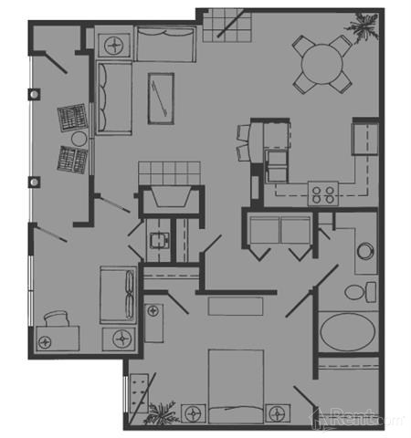 861 sq. ft. C floor plan