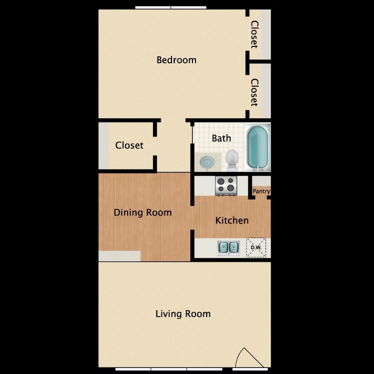 684 sq. ft. A1 floor plan