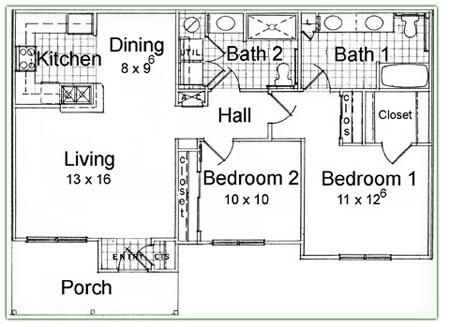 1,040 sq. ft. C floor plan