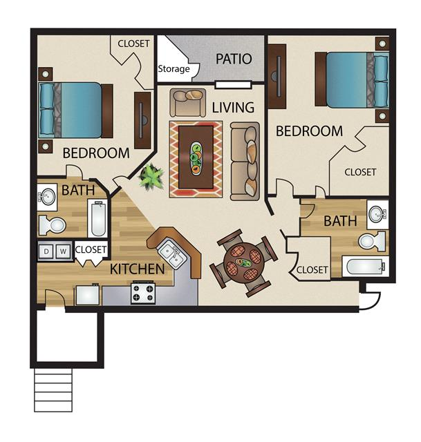 1,067 sq. ft. B2G floor plan