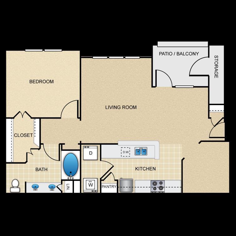 920 sq. ft. A5 floor plan