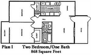 868 sq. ft. J floor plan