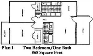 868 sq. ft. J floor plan