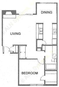 705 sq. ft. Aristocrat/A3 floor plan