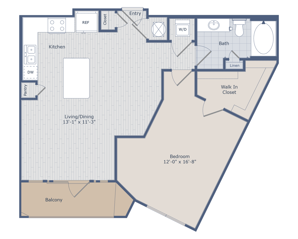 855 sq. ft. A3A floor plan
