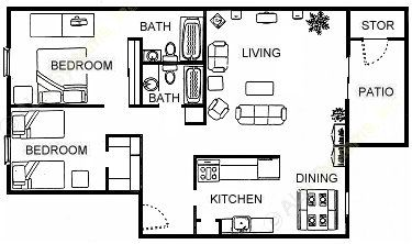 1,250 sq. ft. B2 floor plan
