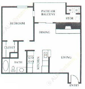 672 sq. ft. C1 floor plan