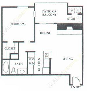 672 sq. ft. C1 floor plan