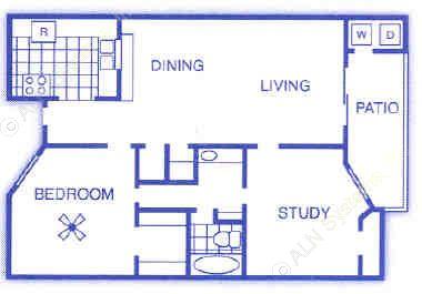 818 sq. ft. B1 floor plan