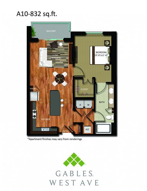 832 sq. ft. DA10 floor plan