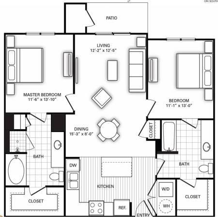1,096 sq. ft. B1 floor plan