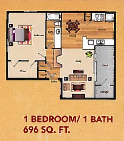696 sq. ft. A2 floor plan