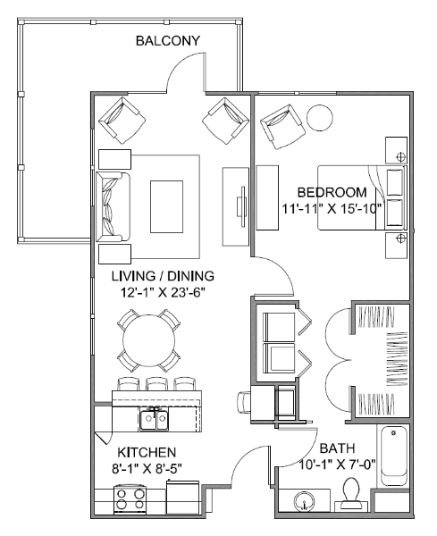 811 sq. ft. Avenue H/60% floor plan