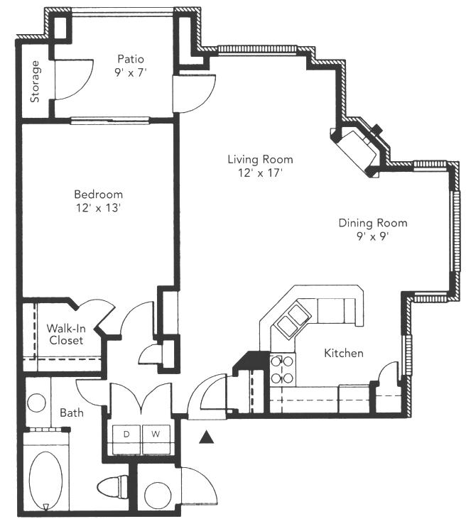 776 sq. ft. to 796 sq. ft. Barrington floor plan