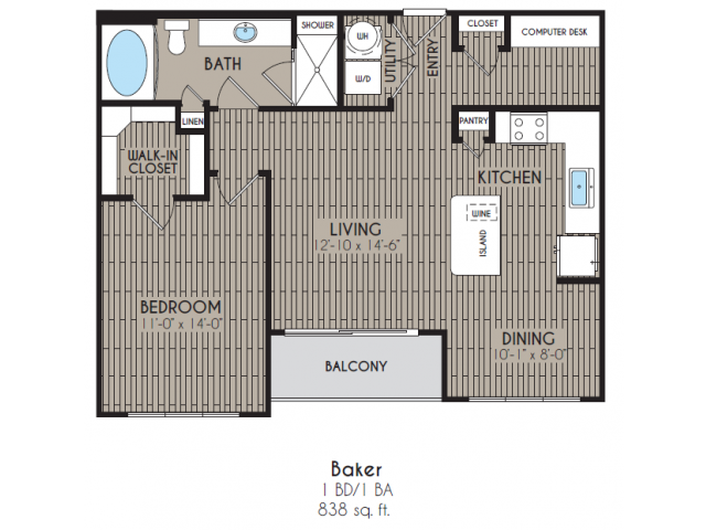 838 sq. ft. Baker floor plan
