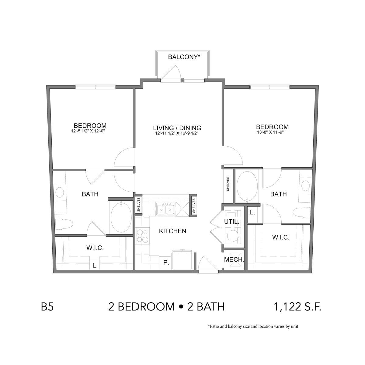 1,122 sq. ft. B5 floor plan