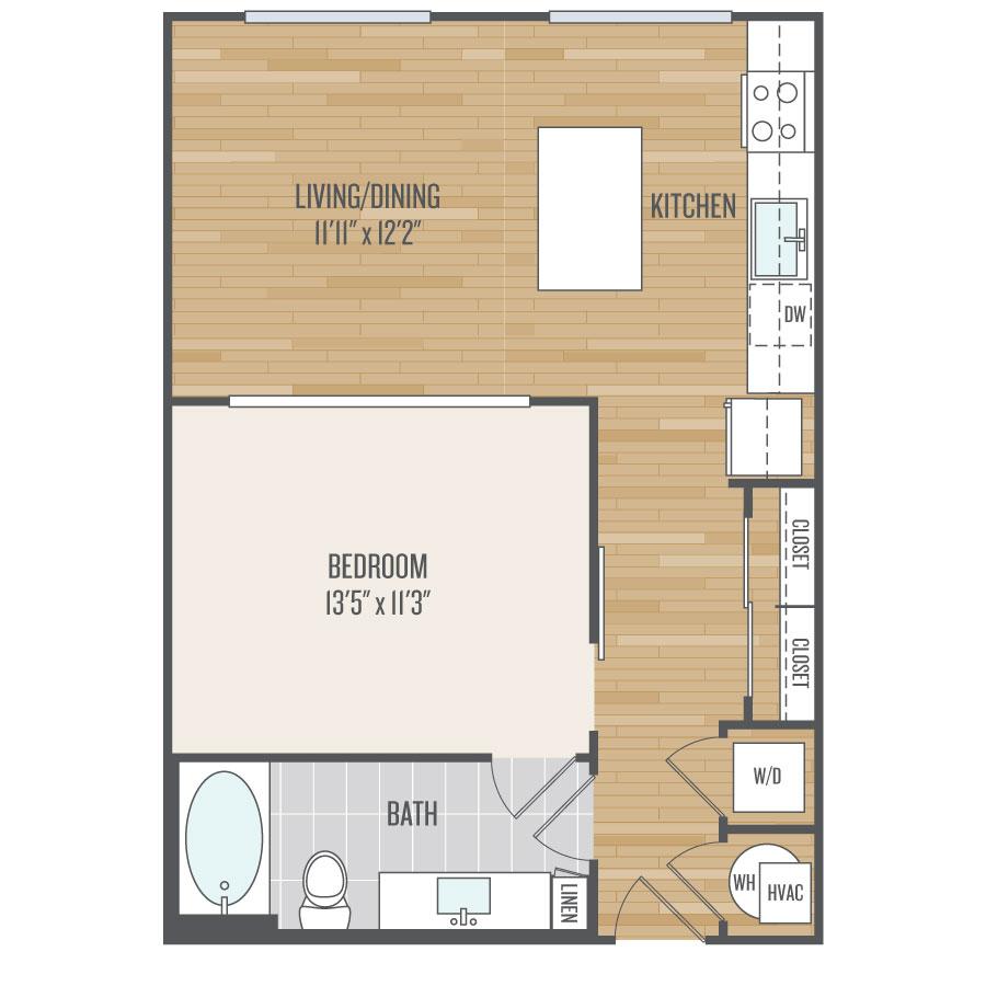 682 sq. ft. E2 floor plan