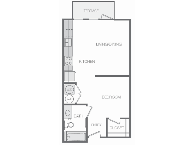 574 sq. ft. Mkt floor plan