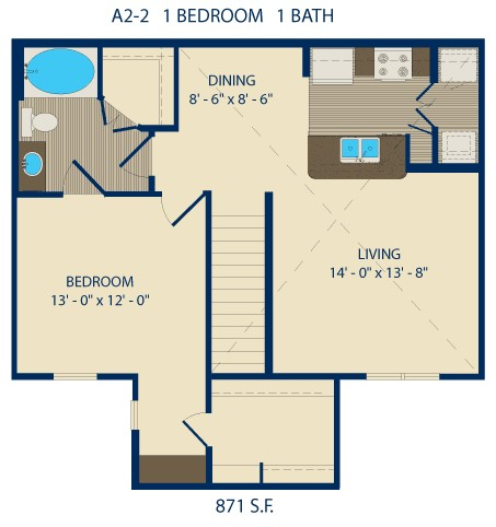 692 sq. ft. AUTRY floor plan