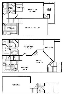 1,185 sq. ft. B2 floor plan