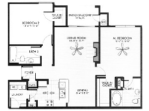 1,084 sq. ft. Flint floor plan