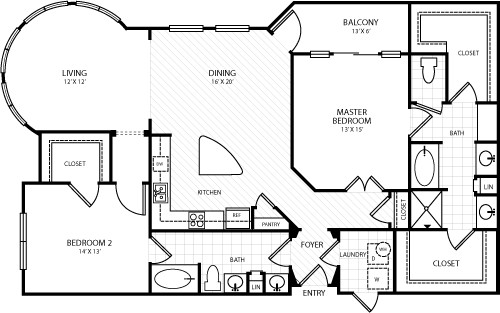 1,521 sq. ft. L4 floor plan